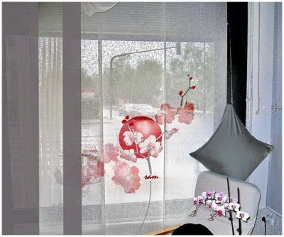 HM painted orchids on panel curtain by SAM, washable