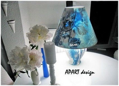 Alight & put out upcycled table lamp in white blue, designed by SAM, unique