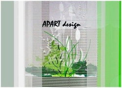 Roller-blind with panel curtains in fresh green bring nature touch inside together with balance & harmony to inhabitants.