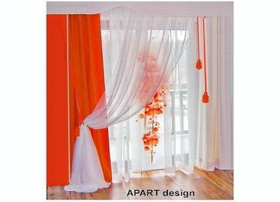 white orange combination of draped & panel curtains with pelmet for creative & otimistic atmosphere.