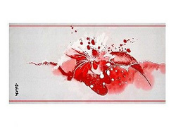 a high quality decor white table runner /60x140 cm/ with hand-made artistic painting in white/red shades, durable colours, machine wash at 40d, unique with artist*s signature 